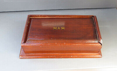 Vintage/Antique Mahogany Wooden Box with Sliding Lid - MAM - Candle/Games Box?