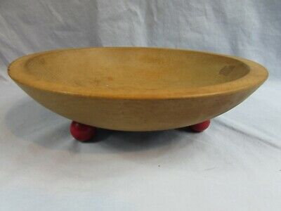 """Vintage MUNISING WOOD Wooden Ball RED Footed Feet 9"""" Oblong Dough BOWL"""