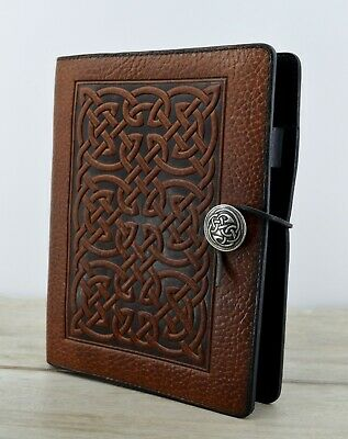 Oberon Rich Brown Leather 3 Ring Planner Organizer Bold Celtic Knot Design