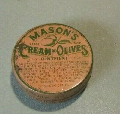 Vintage Mason's Cream of Olives Ointment Salve Medical Advertising Tin Phil PA