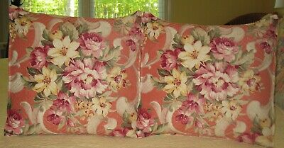 Beautiful Pair of Vintage Barkcloth Pillows Floral Roses
