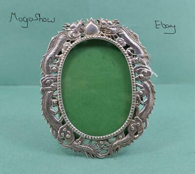 Antique Chinese export Silver Photograph Frame Dragon & Pearl Design Luen Wo