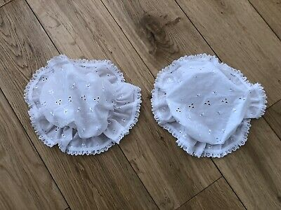 Baby Girl White Waffle Cloche Hat Broderie Anglaise Trim Ribbon Tie NB-0-3-6m