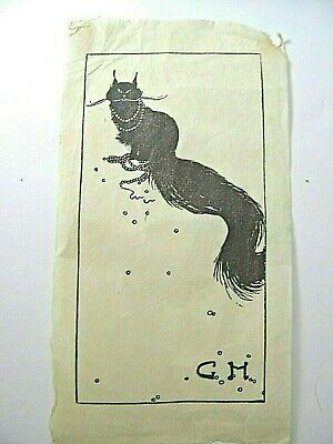 1920's Greatest Pen & Ink Drawing of a Beautiful Cat