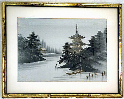 Antique Japanese Framed Silk Embroidered Landscape Pagoda Water Trees Picture