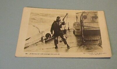 WWI Era US Navy Sailor Posing With Life Line RPPC Real Photo Military Postcard
