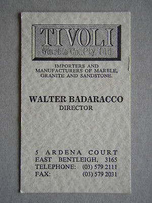 Tivoli Marble Co East Benteligh Walter Badaracco Business Card