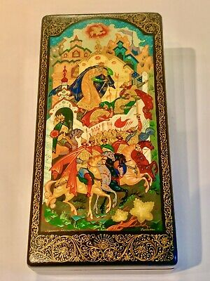 Russian Lacquer Box, Hand Painted Pushkin Fairytale, Kholui, Signed by Artist