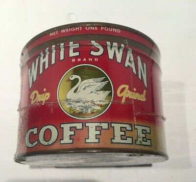 Vintage White Swan Brand Coffee Tin Yellow Circle Advertising Collectible Can