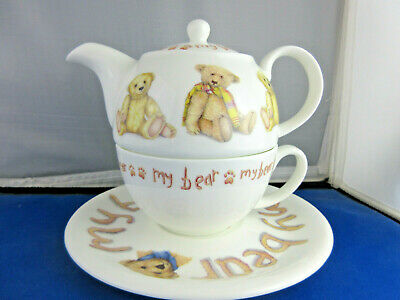 SALE MY BEAR  TEA FOR ONE SET, by ROY KIRKHAM, Fine Bone China, Made in England.