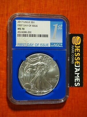 2017 $1 American Silver Eagle Ngc Ms70 First Day Of Issue Fdi 1St Blue Core