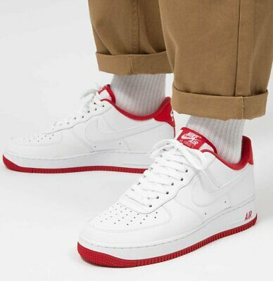 New NIKE Air Force 1 Low Leather Sneaker Casual Shoes Mens white red all sizes