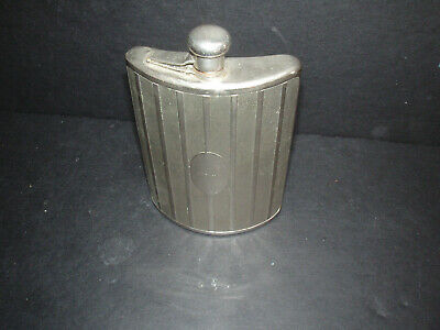 Vintage Silver Metal Ribbed No Monogram Germany Flask