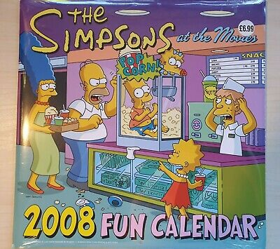 """The Simpsons - Fun Calendar 2008 """"at the Movies"""" - New and Sealed - Free Postage"""