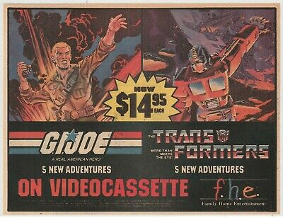 1985 Color Comic Book Print Ad For G.I. Joe & Transformers Videocassettes VHS