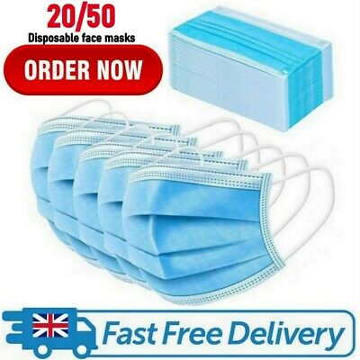 20/50 Disposable Face Mask Surgical Mouth Guard Cover Masks