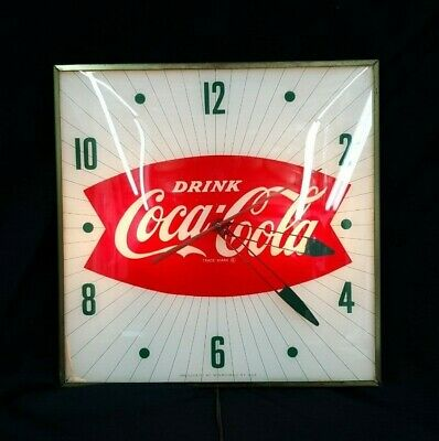Vintage Pam Clock Co. Coca Cola Large Square Bowtie Wall Clock Reproduction Face