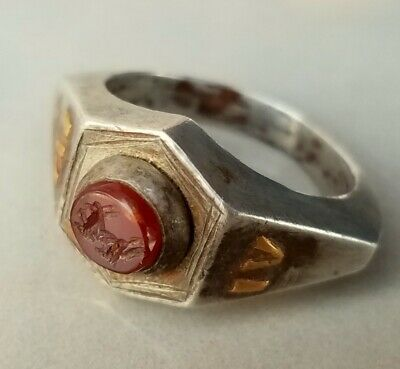 ANCIENT Roman legionary Silver and Gold Ring Legio IV Scythica CAPRICORN 20mm