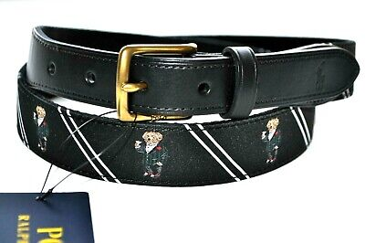 Polo Ralph Lauren Men Preppy Suits-Bear Needlepoint Waist Belt Luxury Burgundy