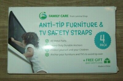 METAL Anti Tip Furniture Kit - TV Straps Safety (4 PACK+ 1 LOCK) Childproof