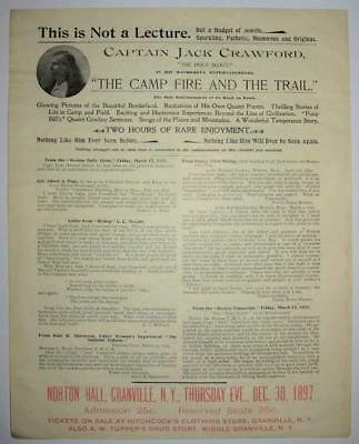 1897 BROADSIDE, WILD WEST SCOUT CAPTAIN JACK CRAWFORD, NORTON HALL, Granville NY