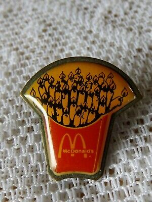 VINTAGE 80's McDONALDS FRENCH FRIES WITH CANDLES CREW MEMBER EMPLOYEE PIN *