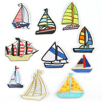 DIY Badge Fabric Applique New Badge Patch Embroidered Boat Sew Iron On Patches