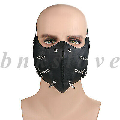 Punk Ring Leather Half Face Mouth Cover Anti-dust Protection  Outdoor Cycling