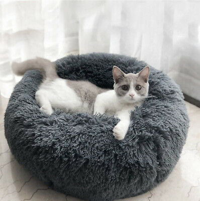 Soft Round Pet Dog Plush Donut Bed Kennel Nesting Fluffy Cushion Bed M/L/XL/XXL