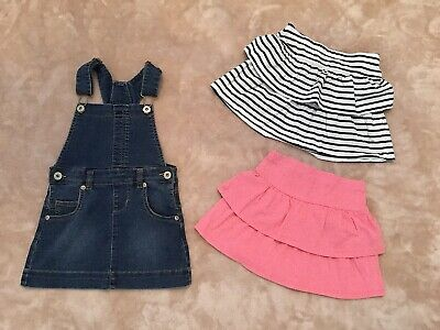 🌺🌸 Girls Denim Pinafore Dress And Ruffle Skirts Bundle Age 4-5 Years 🌸🌺