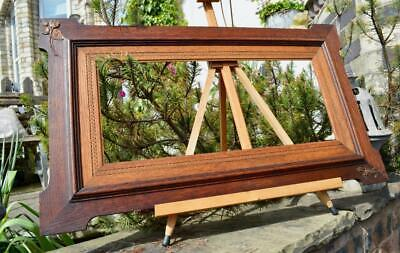 "SUPERB ANTIQUE EDWARDIAN CARVED OAK PICTURE FRAME 20.5""X9"" REBATE vARTS & CRAFTS"