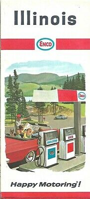 1967 ENCO HUMBLE OIL Road Map ILLINOIS Route 66 Springfield Champaign Urbana