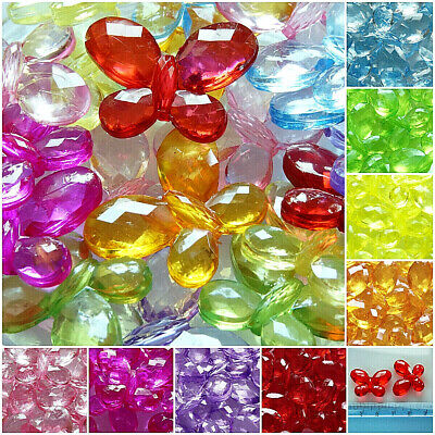 5 Acrylic Faceted Transparent Bright Colours PB89 Big 45mm Snowflakes