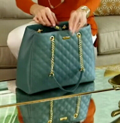 JOY & IMAN Diamond Quilted Genuine Leather Satchel with RFID Teal Evergreen