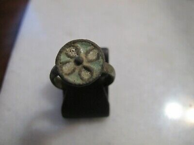 Antique Byzantine Bronze Enamel Cross Seal Ring