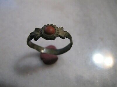Antique Late Byzantine Bronze Ring  Red Jasper Stone