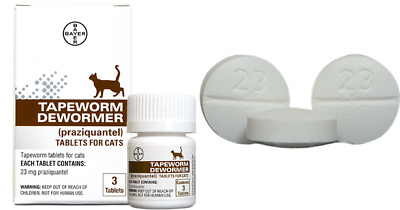 Bayer Cat Tapeworm Dewormer Prazquantel Tablets 3 Ct Cats Over 6 Weeks of Age