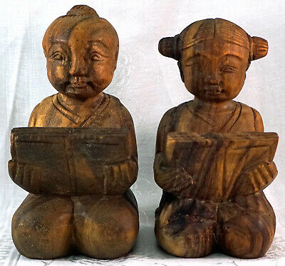 Carved Wood Statues Chinese Boy & Girl Sitting Seiza Style Reading Book