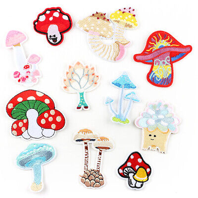 Mushroom DIY Applique Sticker Craft Embroidered Sew Iron On Patches Badge Fabric
