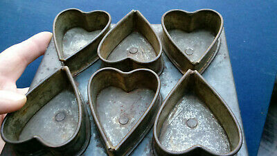 Antique Primitive Tin 6 Heart Mold Pan Valentine Biscuit Cookie Cutter