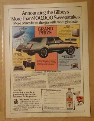 Vintage 1980's GILBEY'S GIN SWEEPSTAKES Contest PRIZES 1984 Print Advertising