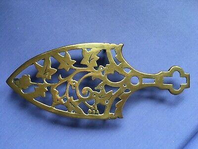 Antique Victorian Brass Flat Iron Stand Trivet Grape Vine design Reg No