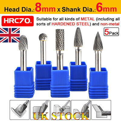 5Pcs UK Tungsten Carbide Point Burr Die Grinder Shank Rotary Drill Bits Set 8mm