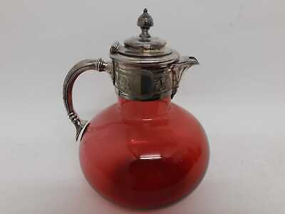 Cranberry claret jug with silver plated mount