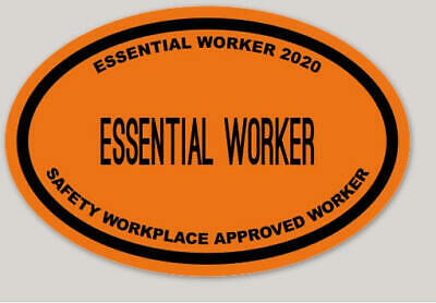 5 PACK Essential Worker 2020 Safety Approved Vinyl Sticker Decal made In USA