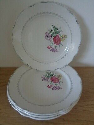 4 x French Floral Teaplates Digoin & Sarreguemines Rene Vintage Dining Kitchen