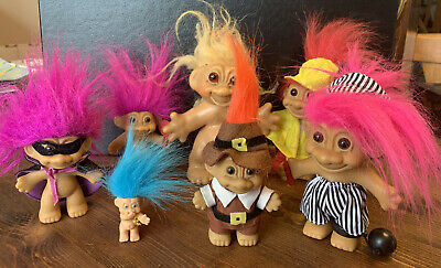 Lot Of 7 Vintage Thomas Dam Denmark Russ TROLLS