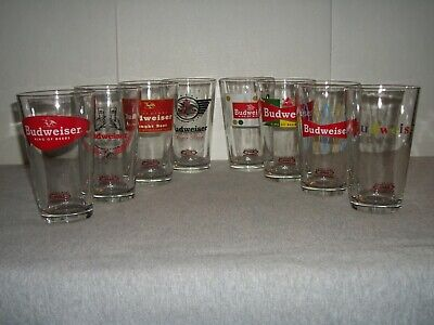 (8) Budweiser Retro Pint Collector's Series Beer Glasses ~ Different Years