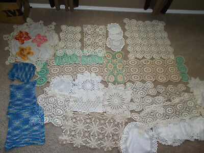 Lot of 35 Lace Crochet Doilies & Table Runner