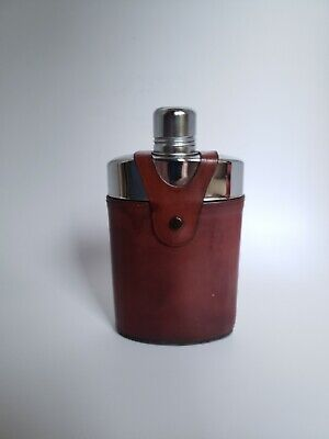 TRC Glass Flask With Brown DeBon Leather Antique Glazed Hide Cover